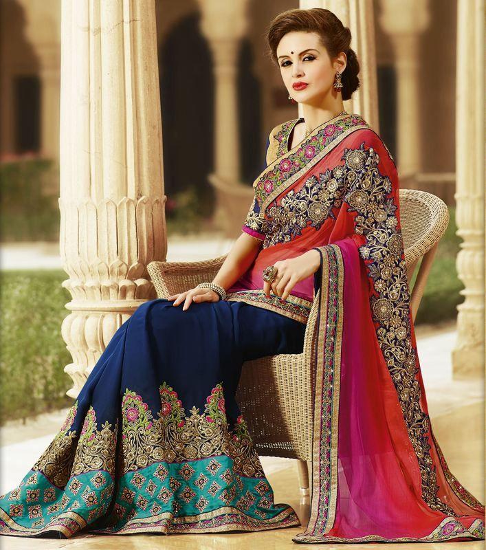 8c78fad5c37f82 Indian Evening Saree Designs for Engagement | Fashion | Designer ...