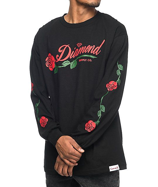 78f146f34 A touch of elegant Diamond style is achieved when this long sleeve tee  adorns your torso. The LA Rose, 100% cotton tee features a single red rose  screen ...