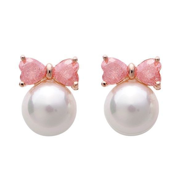 Gold Plated Crystal Bowknot Pearl Ear Stud Earrings Women Jewelry Size Chart Alpha M Hamp Indian
