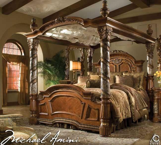 cama de madera con dosel michael amini villa valencia buditasan shop si no lo