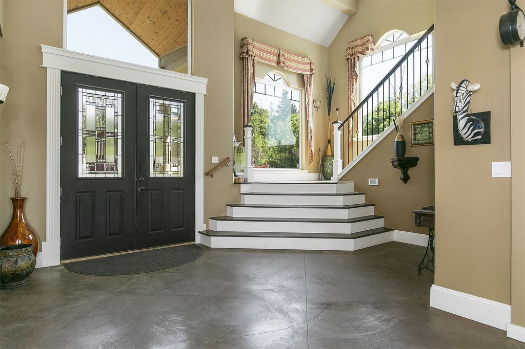 Transitional Entryway With High Ceiling Concrete Floors Carpet | Half Moon Carpet For Stairs | True Bullnose | Stair Tread | Stain | Stair Nosing | Runner Rugs