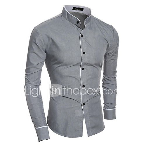 Domple Mens Long Sleeve Slim Fit Business Solid Color Casual Button Up Dress Work Shirt