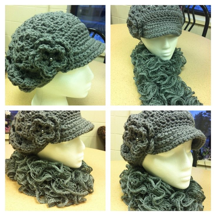 sashay yarn | Hat with matching curly scarf made outta Red Heart ...