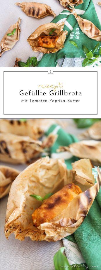 Sommer-Rezept: Gefüllte Grillbrote mit Tomaten-Paprika-Butter  - Brot-Bonbons  - Brot vom Grill
