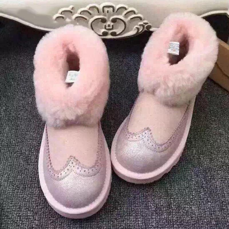 Uvwp Baru Kualitas Atas Sepatu Wanita Salju Bulu Alami Musim