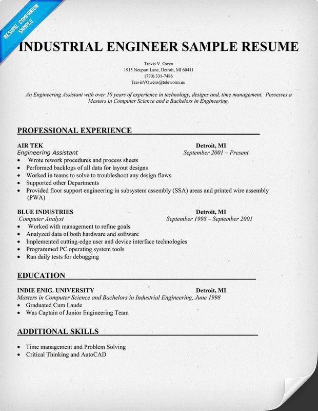 Industrial Engineer Sample Resume (Resumecompanion.Com) | Resume