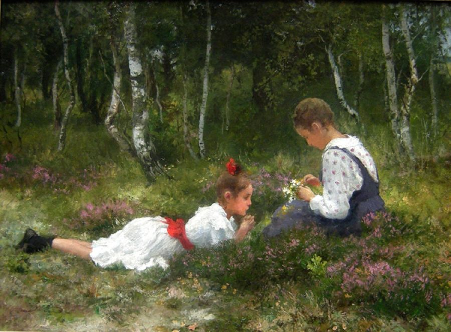 Girls Collecting Flower Garland In the Forest, Hermann Seeger
