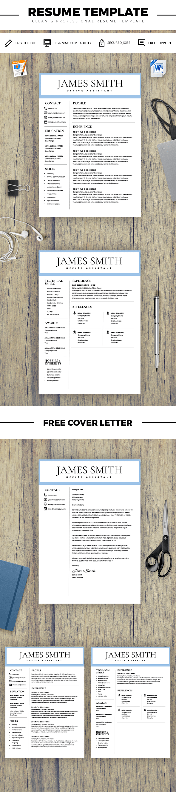 Resume Template for Men - Writer Resume Template for Word & Pages ...
