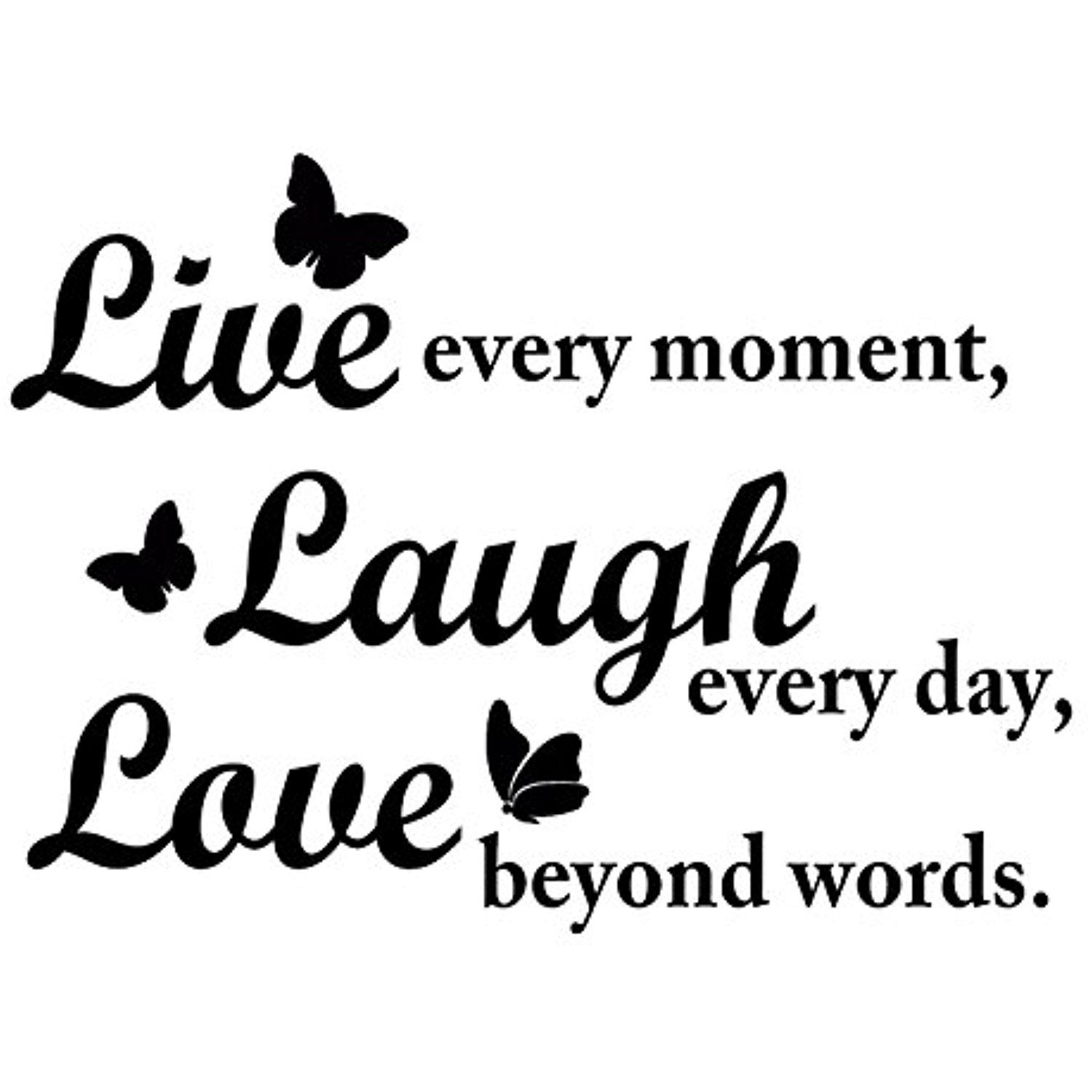 Live Laugh Love Wall Decal Inspirational Quote with Butterflies. Perfect Inspiring Art Decor For ...