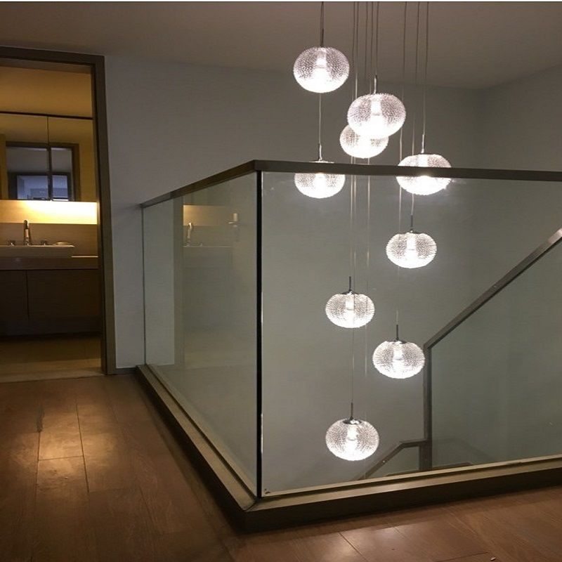 Modern Chandeliers Led Round Glass Globle Ceiling Hanglamps Long Stair Ball Lighting E27 10 Lights For Living Room Lighting Modern Chandelier Cheap Chandelier