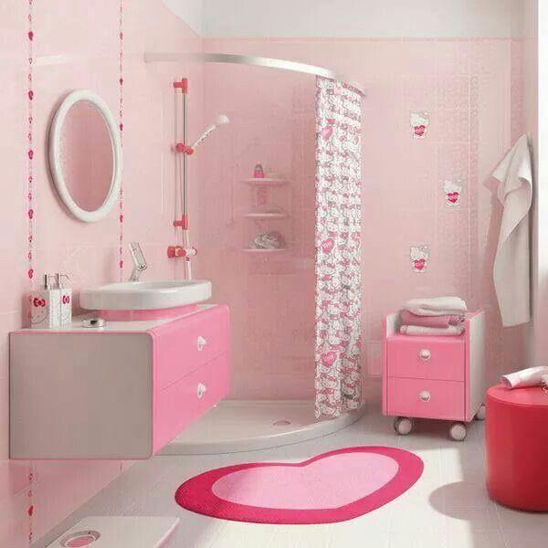 Pin By Yuukatsuki On Good Living Girl Bathrooms Bathroom Decor Retro Pink