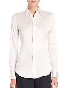 5bf64bc94 Ralph Lauren - Cindy Stretch-Silk Button-Down Blouse | store window ...