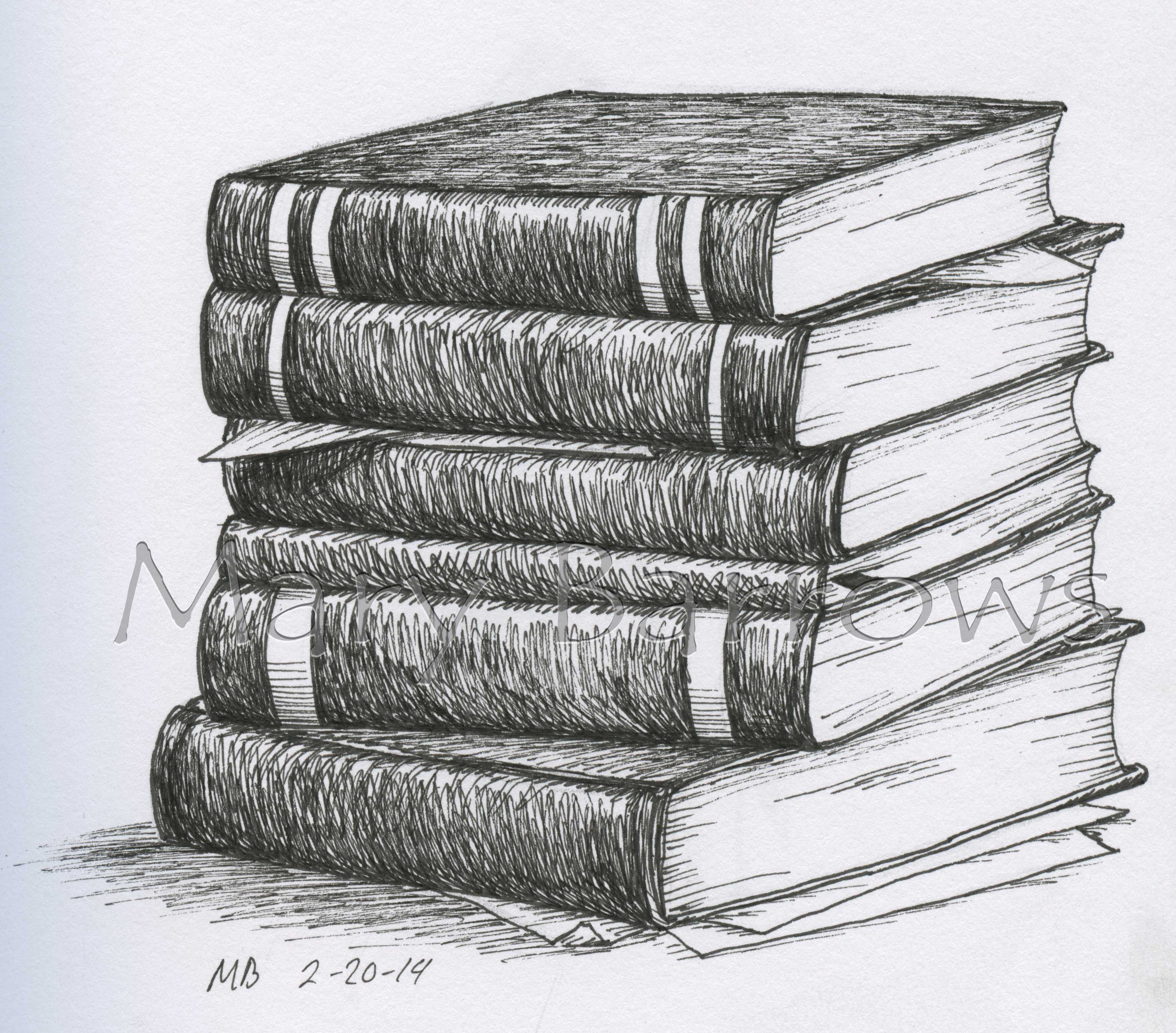 Pile of books drawing google search 100 things drawing for Small drawing ideas