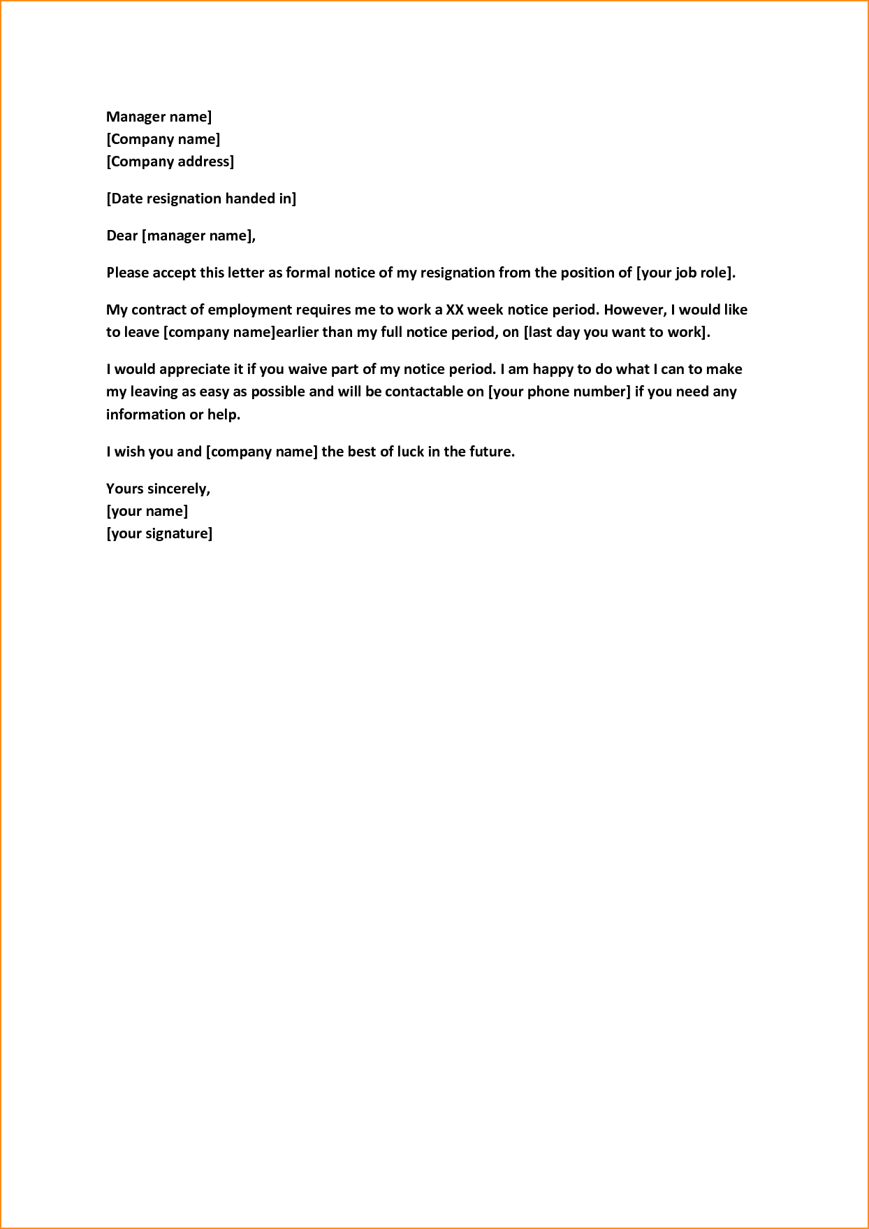weeks notice letter quit job basic appication reason letters