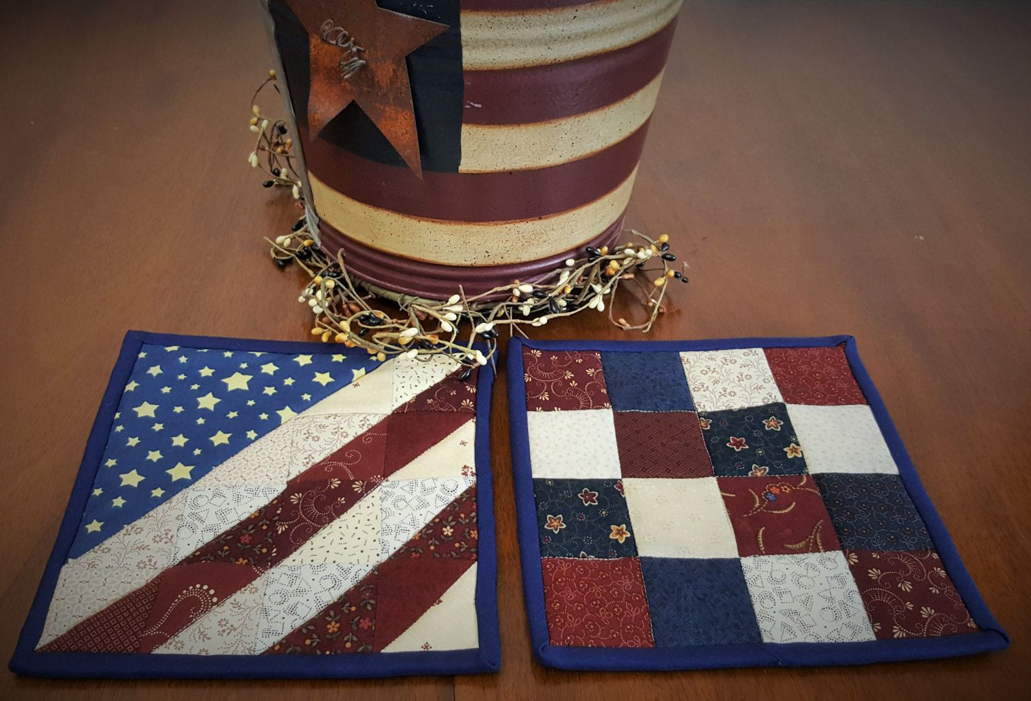 White pot holders for crafts - Quilted Patriotic Country Potholder Americana Quilted Potholder Red White And Blue Potholders Country Quilted Potholders
