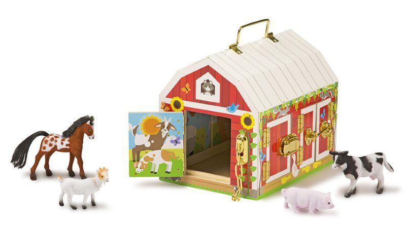 Bauernhof Scheune mit 4 Tieren, 6 Türen verriegelbar zum Mitnehmen Holzspielzeug Meillsa & Doug | MD12564 / EAN:0000772125642