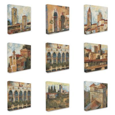 Stupell Industries Italian Tuscan Architecture 9 pc Graphic Art Wrapped on Canvas Set