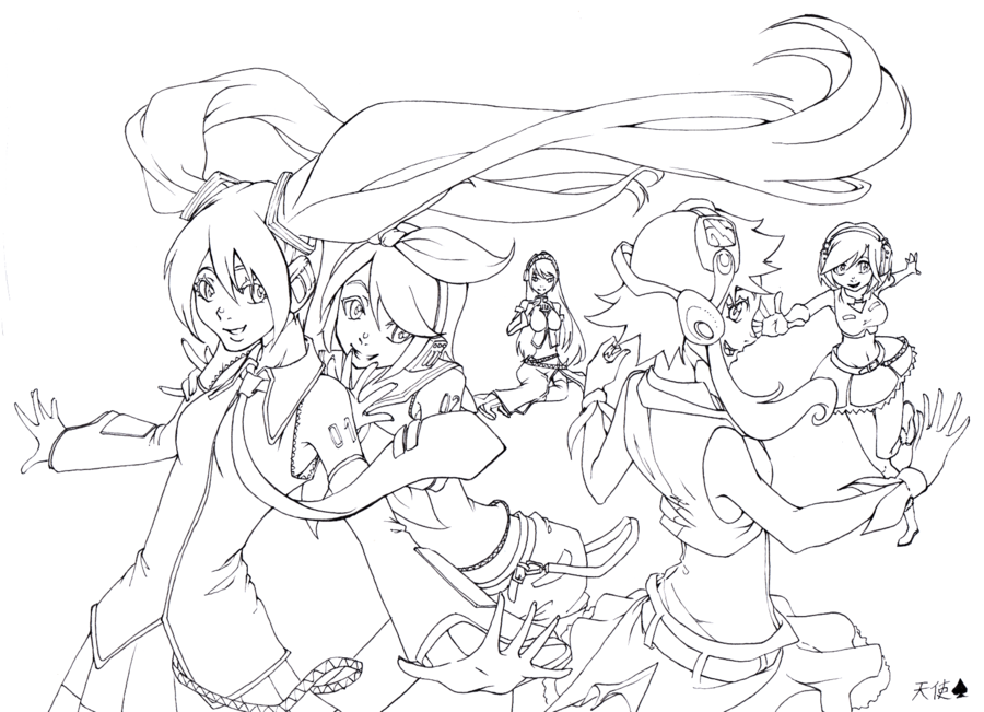 Vocaloid Girls Lineart By Violetmoonshade D4p2w6a Png 900 651 Vocaloid Bw Art Colouring Pages