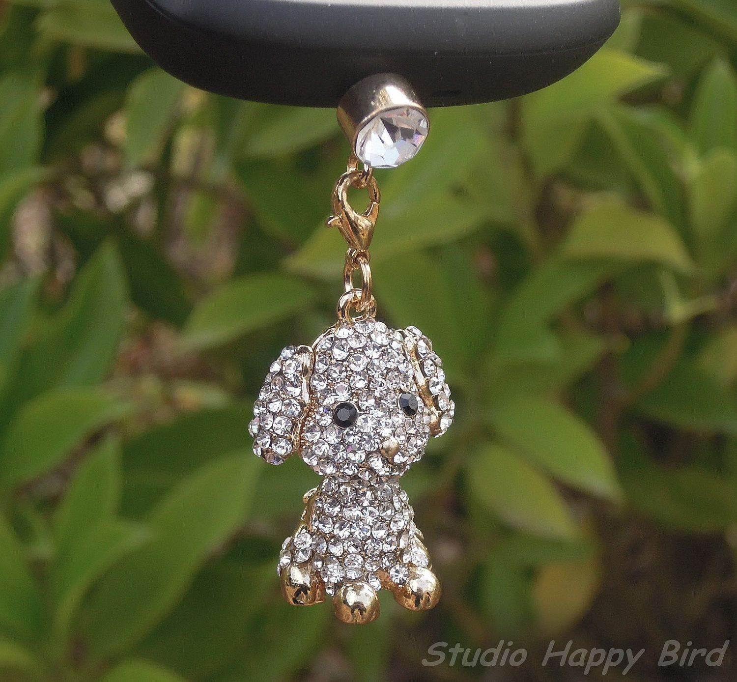 Bling Crystal Animal Cute Dog Cell Phone Cap Charm Anti