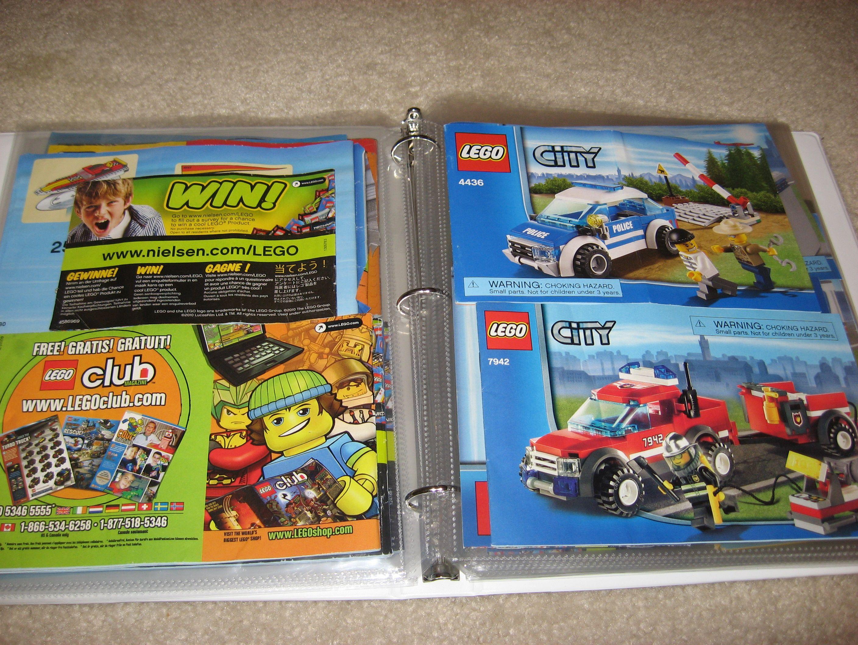 Lego Instruction Books In Binder With Sheet Protectors Lego Organization Organization Kids