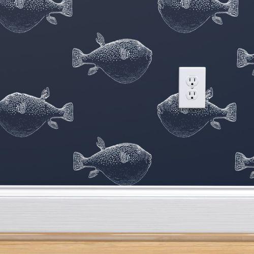 Puffer Fish Pufferfish Silver On Navy Spoonflower In 2020 Spoonflower Custom Wallpaper Boy Bath