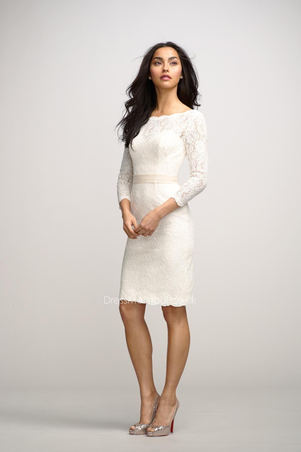 Sheath short bateau neck little white lace designer bridesmaid dress