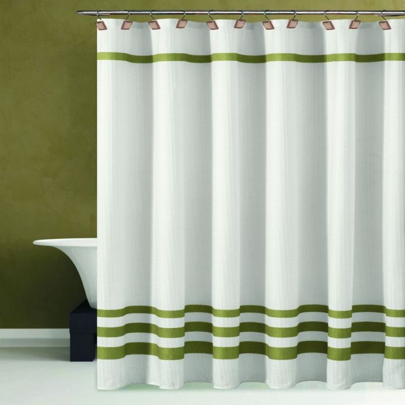 Duck River Bleecker Hotel Waffle Fabric Shower Curtain With Stripes