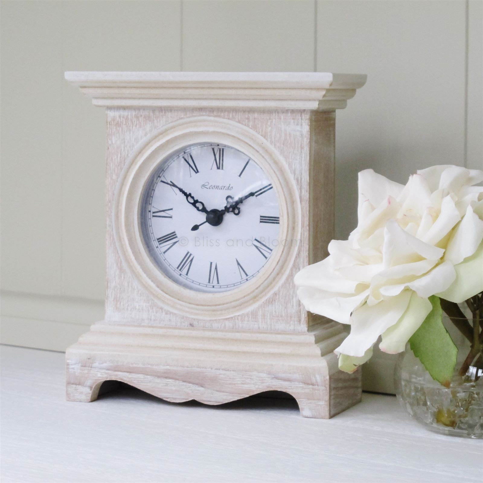 Natural Wooden Mantel Clock With A White Wash 14 99 From Www Blissandbloom Co Uk Wooden Mantel Clock Mantel Clocks