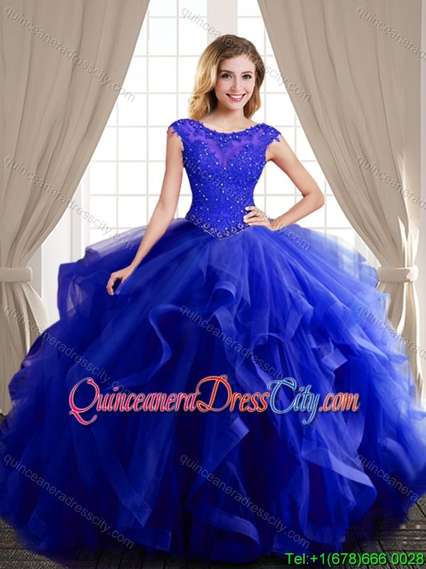 ee7b84bd5e6 Wonderful Beaded and Ruffled Royal Blue Quinceanera Dress with Brush Train