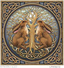 LISA PARKER WICCAN PAGAN GREETING CARD BRAND NEW AND SEALED - MOON GAZING HARES
