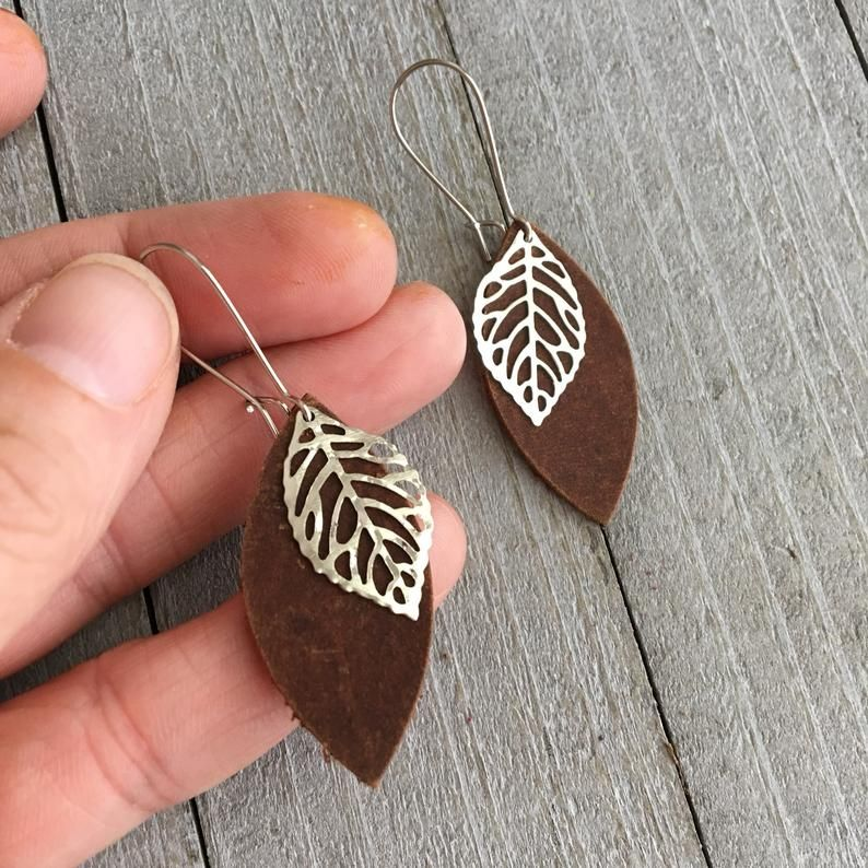 Photo of Leather Leaf Earrings – Rustic Brown Leather Petal with Metal Leaf Charm  – Small Lightweight Bohemian Dangle Earrings