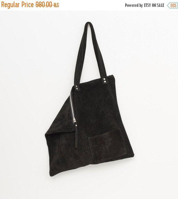 52de09ae5929 Black oversized suede tote bag