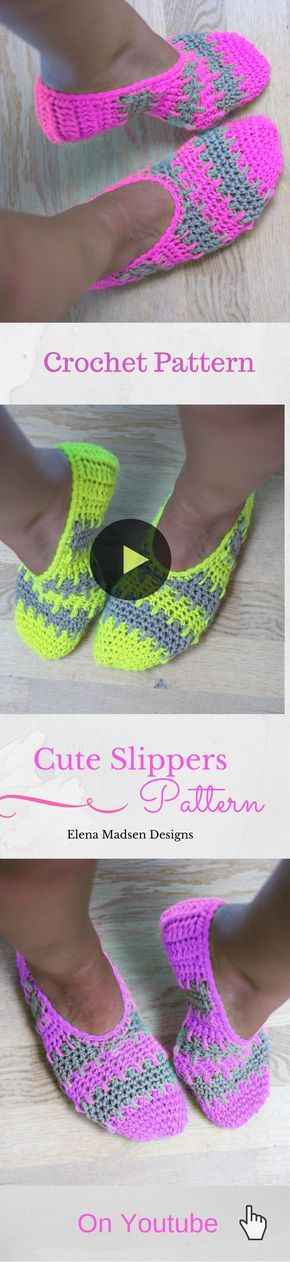 Super cute crochet slippers easy to make! :-) Free pattern on ...