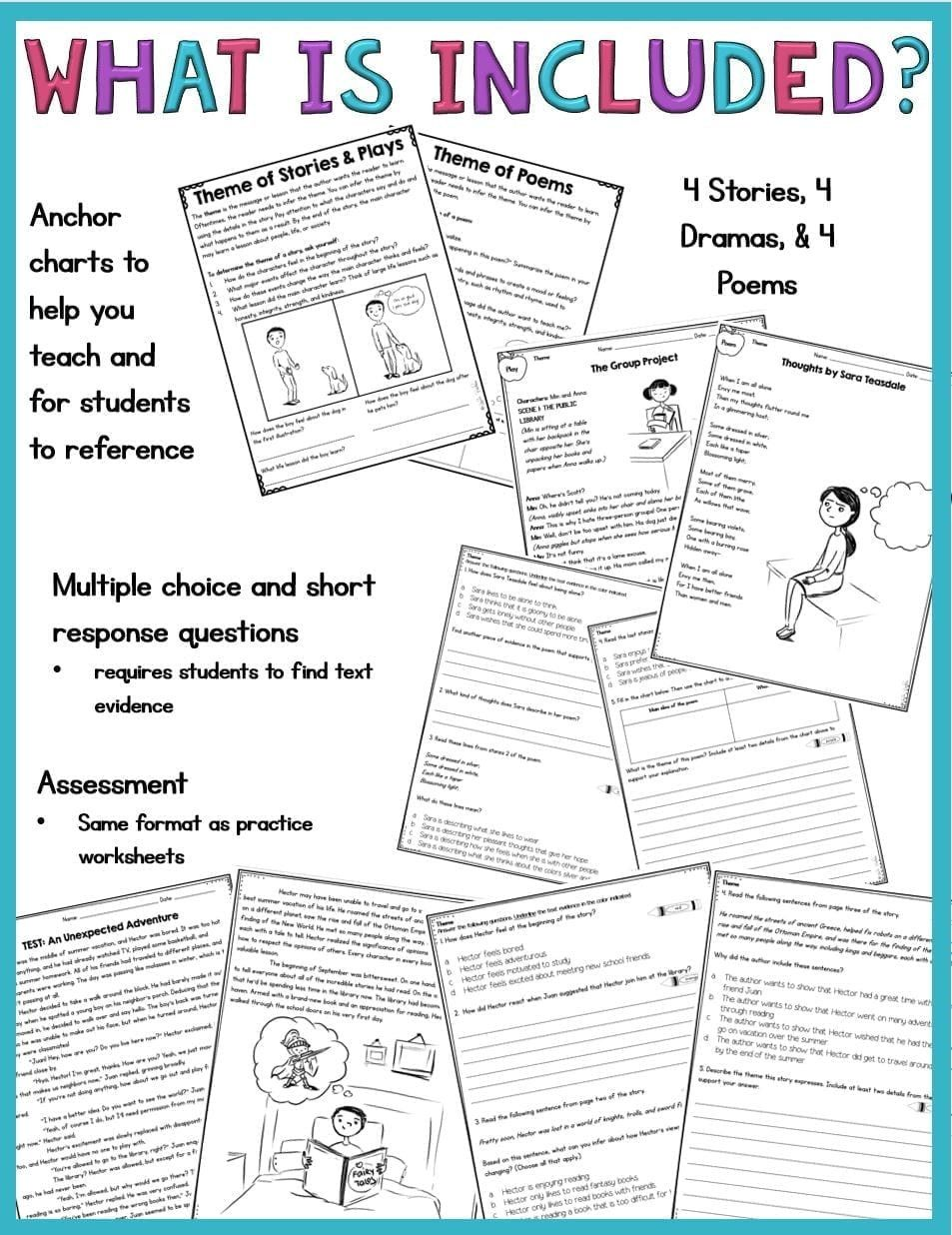 Theme Worksheets For 5th Grade Theme In Stories Plays And Poems 4th Grade Rl 4 2 And 5th Grade Rl 5 2 Text Evidence Text Features Worksheet Poetry Worksheets
