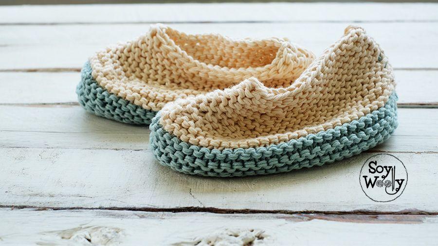 Pantuflas, Zapatillas muy fáciles tejidas en dos agujas para ...