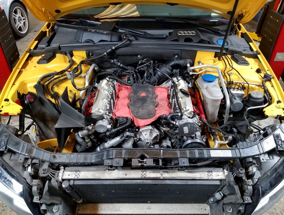Imola Yellow Audi S4 Quattro Engine Service At German Autohaus Of Chattanooga Volkswagen Tdi Chattanooga Audi S4