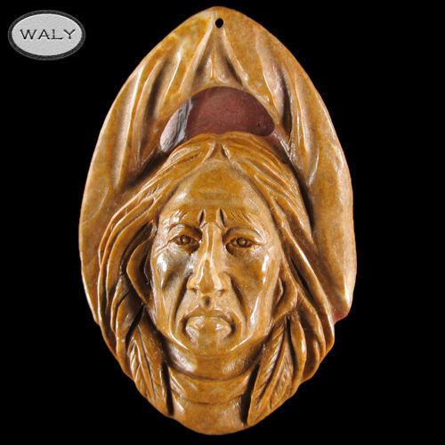 Carved Large American Indian Pendant Bead AD502037 | eBay