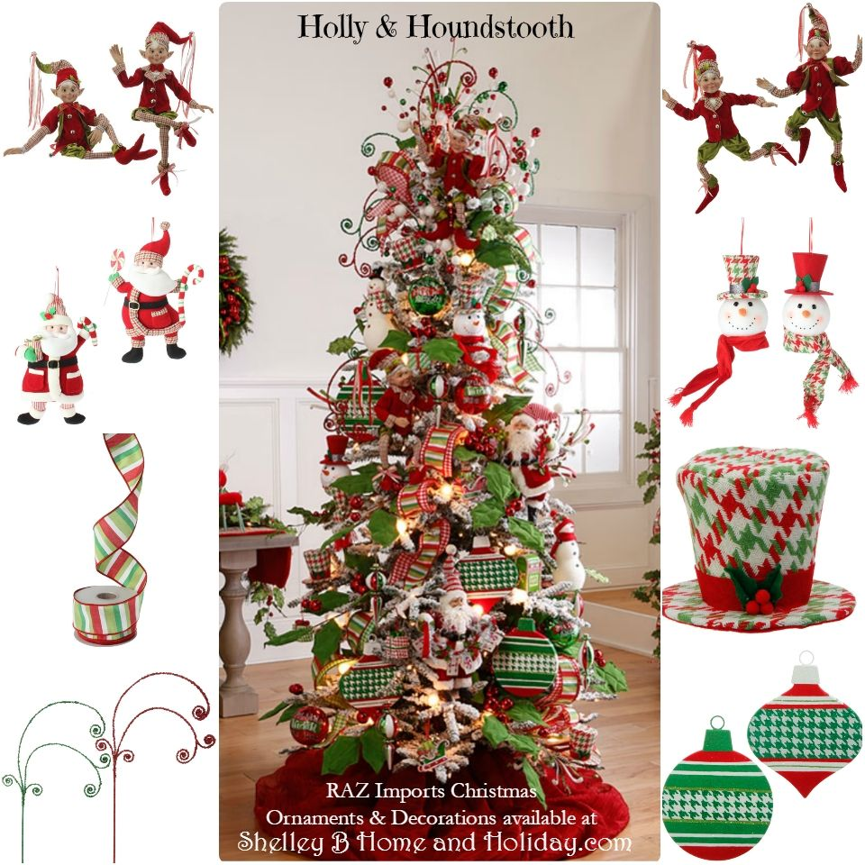 RAZ Holly And Houndstooth Decorated Christmast Tree. Shop