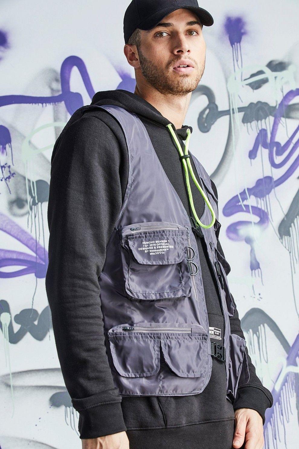 59f0efb90f Quavo Nylon Military Buckle Vest | Men Fashion - BoohooMAN | Padded ...