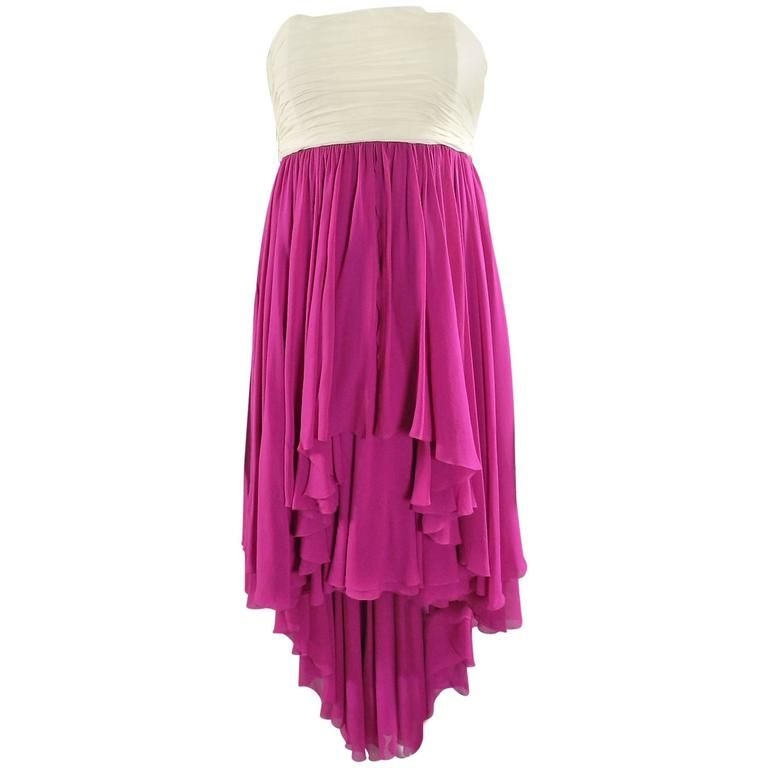 Karl Lagerfeld vintage 1985 Fuchsia and Ivory Strapless Silk cocktail Dress