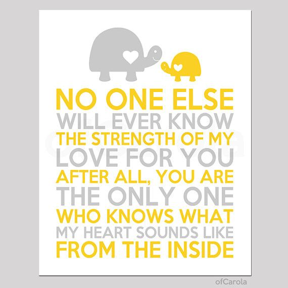 No One Else Quote Wall Art Print, Personalized Baby Boys Girls Nursery Decor Mother Child Turtles Animal Love Yellow Gray White ofCarola on Etsy, $12.00