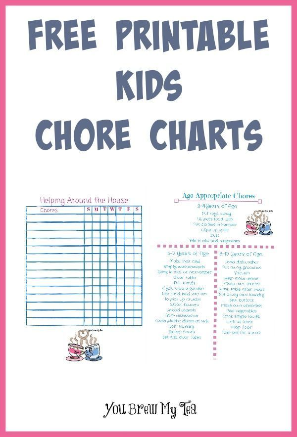 free printable kids chore charts - Printable Pictures For Kids