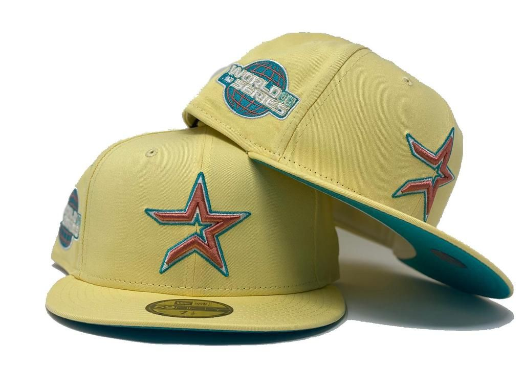 Houston Astro 2005 World Series Soft Yellow Teal Brim New Era Fitted Hat In 2021 Fitted Hats New Era Fitted Yellow And Teal