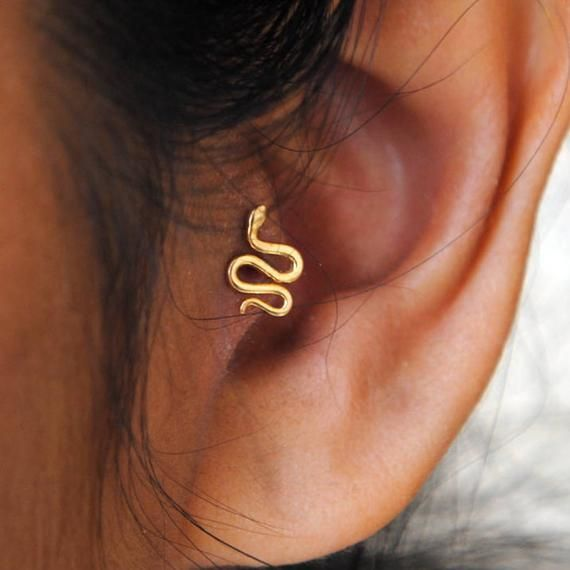 Tragus Gold Snake Earring. Solid 14K Gold Tragus Earrings. Tragus Small Snake Earrings. Pushback Tragus Stud. Cartilage, Tragus Earring