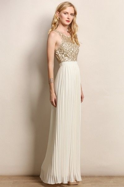 Gold And Cream Long Dress Pre Order Style The Blushing Bride