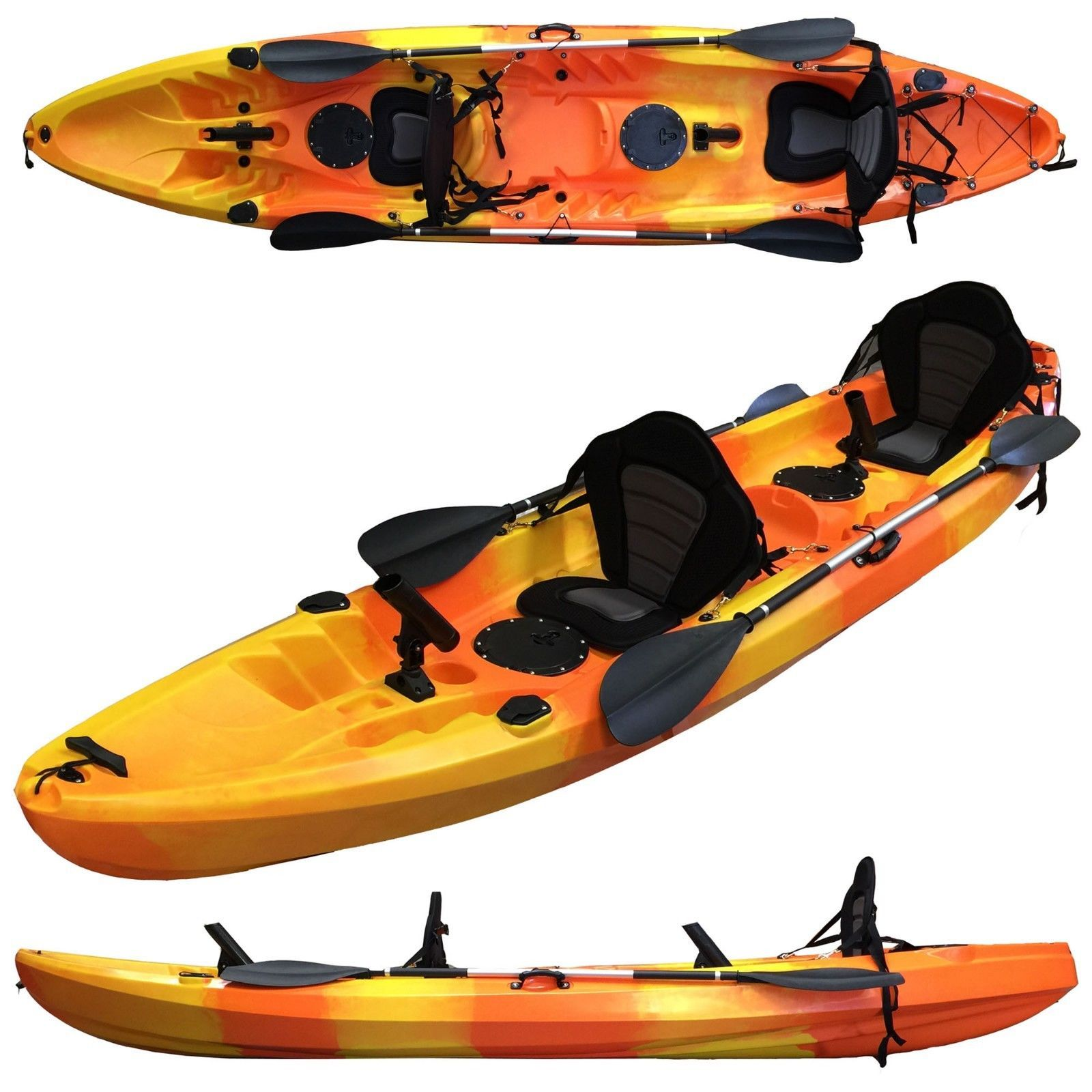 37M 25 Persons Family Double 2 1 Fishing Kayak Canoe 6 Rod Holders Orange