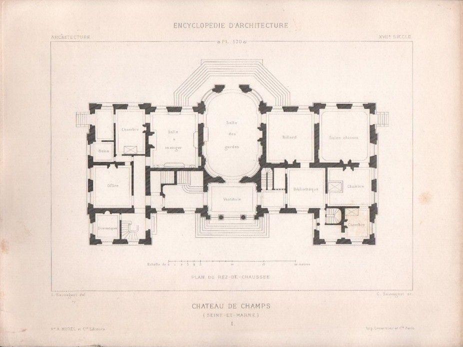Chateau De Champs Sur Marne Ground Floor Plan Champs Sur Marne How To Plan Vintage House Plans
