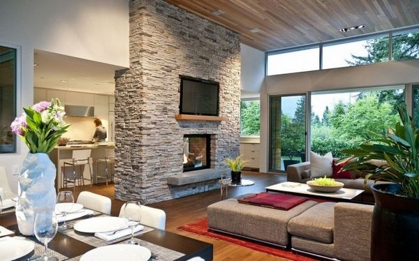 Two-sided fireplace the perfect room divider - Open Fireplace Designs to  Warm Your Home