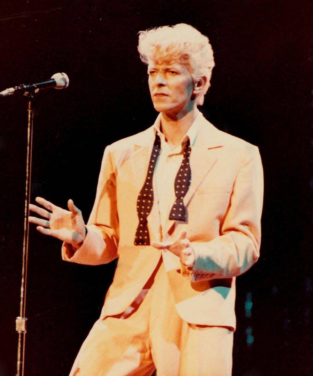 David Bowie during the Serious Moonlight tour, July 27 1983 © Michael Brito    David bowie fashion, David bowie, Bowie