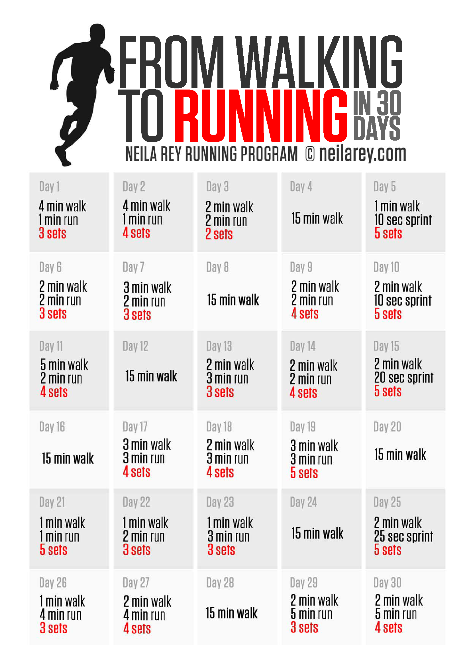 From Walking To Running In 30 Days Pdf Workout Challenge Easy Workouts Fitness Tips